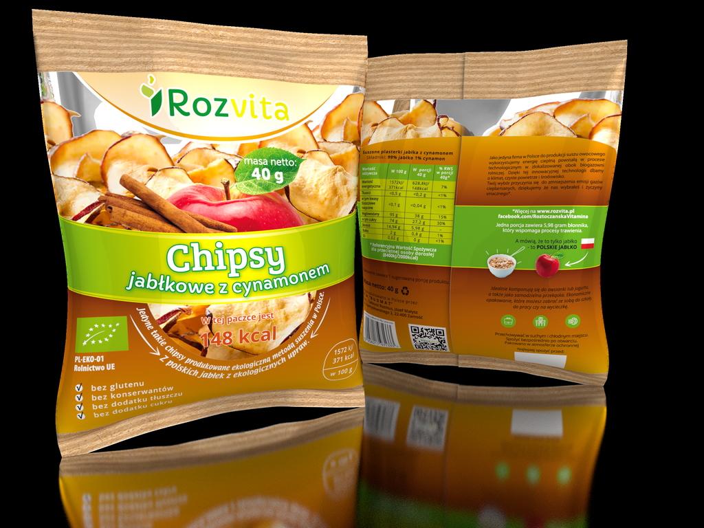 Chipsy jabłkowe EKO z cynamonem
